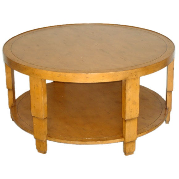 Round Pine Cocktail Table With Shelf At 1stdibs