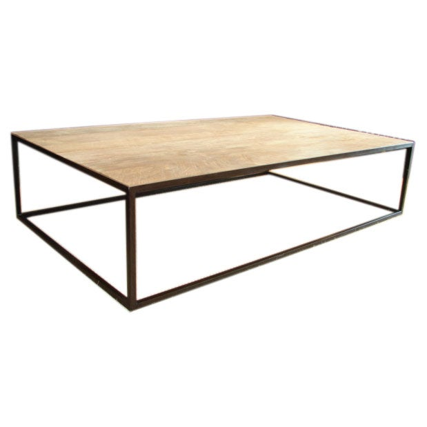 Reclaimed teak coffee table with metal box base at 1stdibs Metal square coffee table
