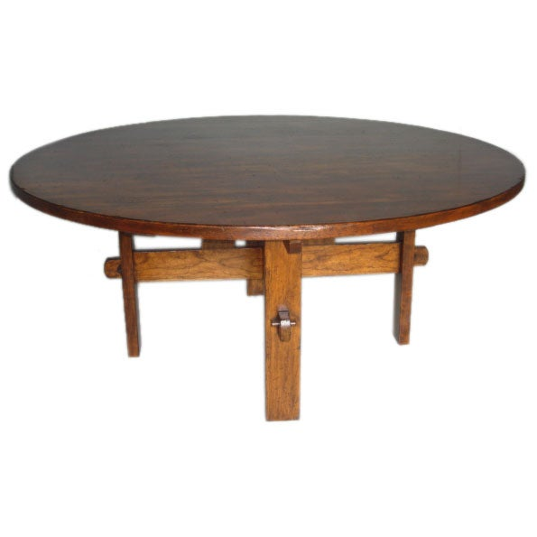 72 Round Mission Dining Table At 1stdibs