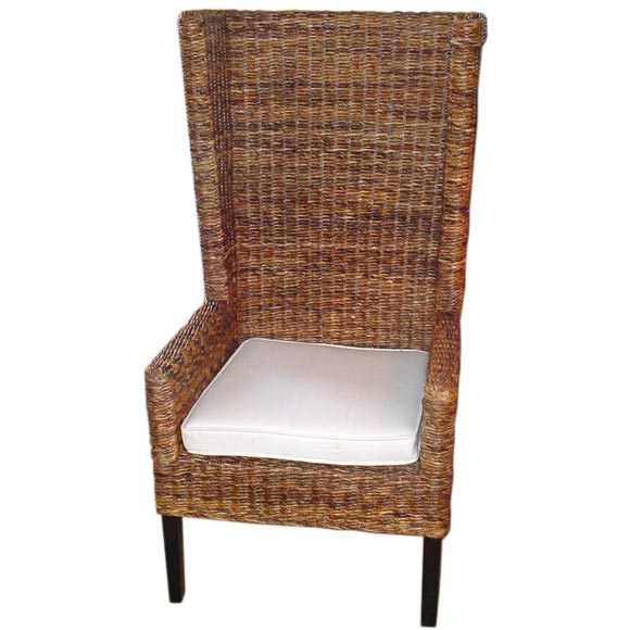 High Backed Woven Banana Leaf Bermuda Chair With Cushion At 1stdibs