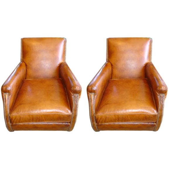 Leather Club Chair With Brass Nail Heads At 1stdibs