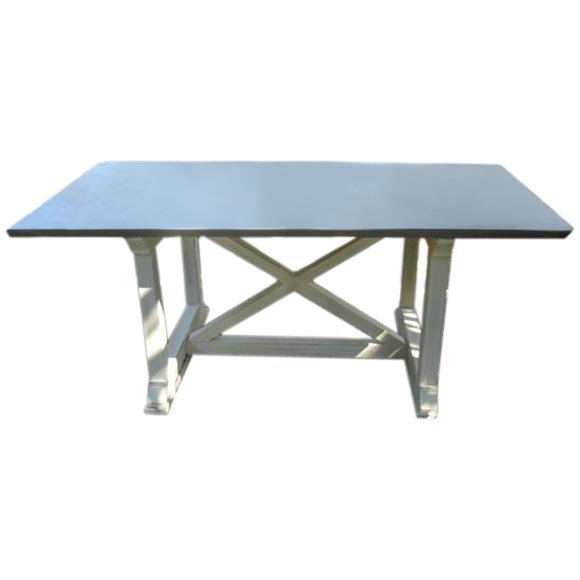 Zinc Top quotXquot Base Dining Table at 1stdibs : fnbf0030 from www.1stdibs.com size 580 x 580 jpeg 13kB