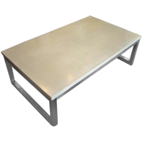 Concrete Top Coffee Table With Stainless Steel Base At 1stdibs