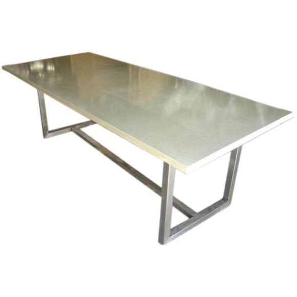 concrete top dining table with steel base at 1stdibs