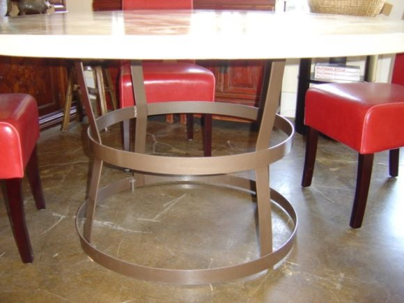 Round Concrete Top Dining Table On Iron Cage Base Image 2