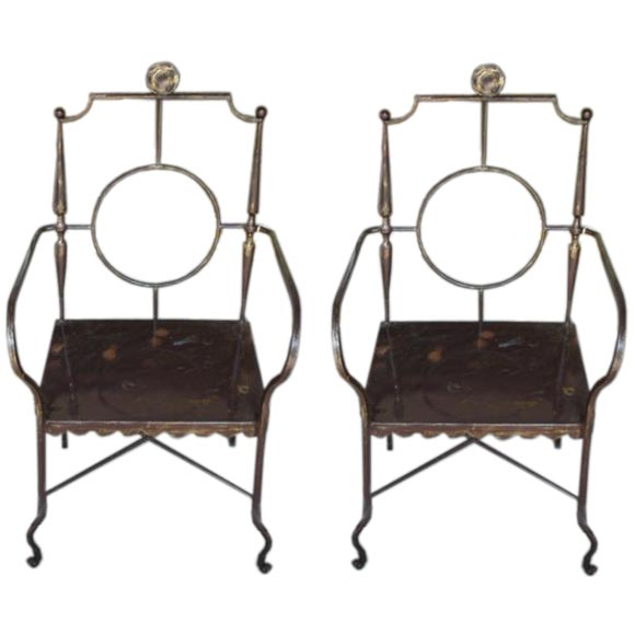 Wrought Iron Arm Chairs ~ Decorative wrought iron arm chair at stdibs