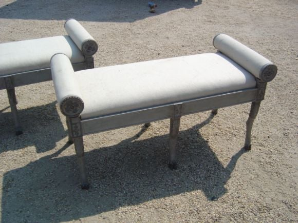 Pair Of French Rolled Arm Benches At 1stdibs