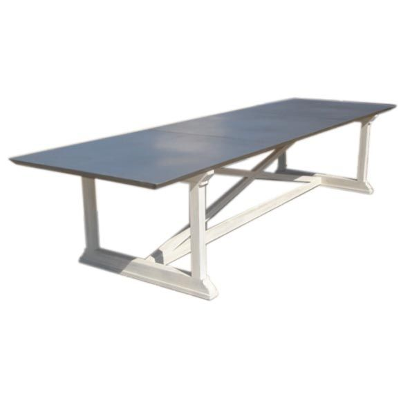Custom x base dining table with zinc top at 1stdibs for Table exterieur zinc