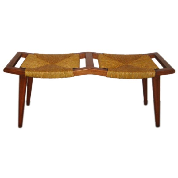 Double Rush Seat Bench At 1stdibs