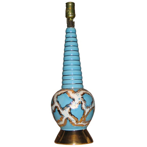 Vintage Spiral Blue Ceramic Table Lamp w/ Gold & White Accents
