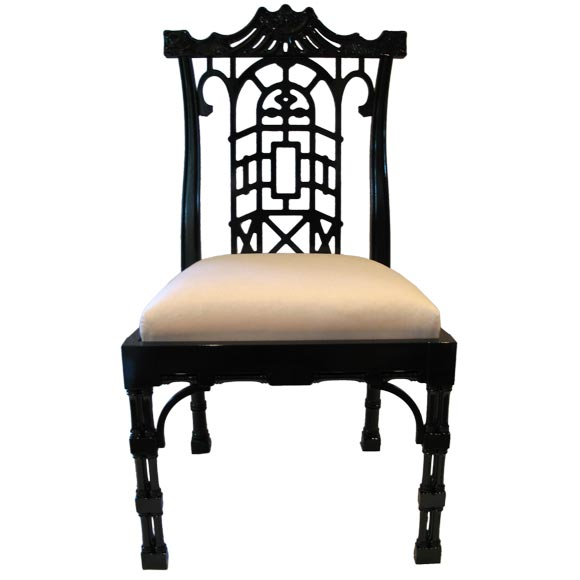 Reproduction Chinese Chippendale Dining Chair For Sale at  : black1 from 1stdibs.com size 580 x 580 jpeg 26kB