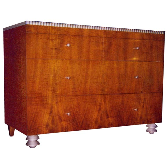 Robert W. Irwin  Walnut Dresser With Silver Leaf Details C. 1933 For Sale