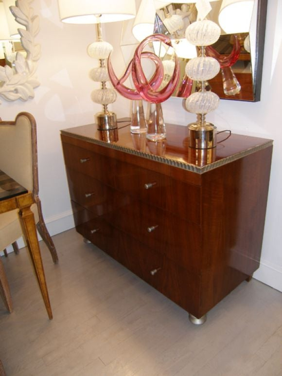 American Robert W. Irwin  Walnut Dresser With Silver Leaf Details C. 1933 For Sale