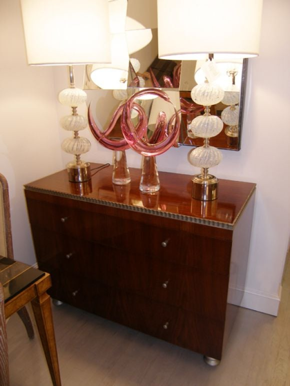 20th Century Robert W. Irwin  Walnut Dresser With Silver Leaf Details C. 1933 For Sale
