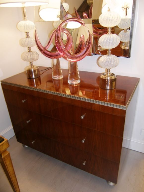 Robert W. Irwin  Walnut Dresser With Silver Leaf Details C. 1933 For Sale 3