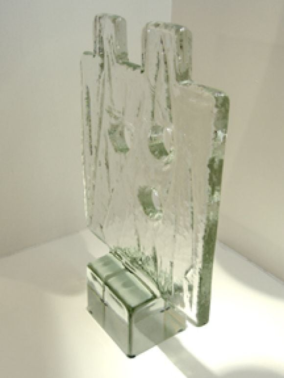 Italy Murano Block Glass Sculpture by Alfredo Barbini.  In Stock.  This is a gorgeous Alfredo Barbini fine and rare block glass sculpture.   With Three (3) holes, High-rectangular structured flat square, Two (2) free-standing square block on upper