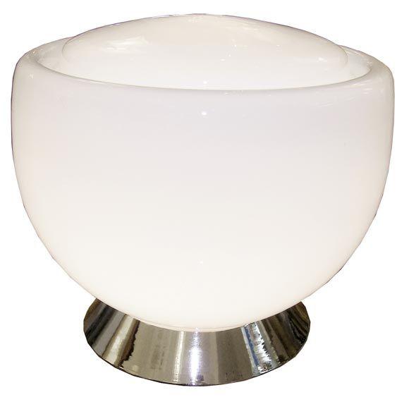 Large Vistosi White Glass Lamp on Nickel Base
