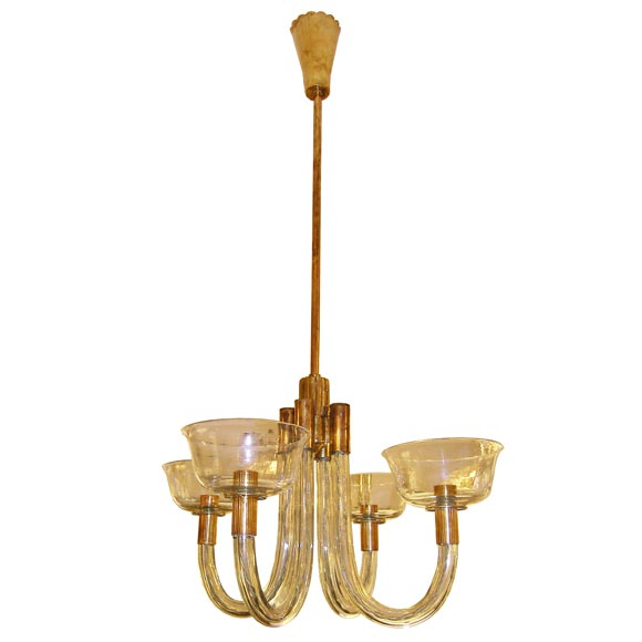 Documented 1941 Venini Brass and Pale Amber Glass Chandelier