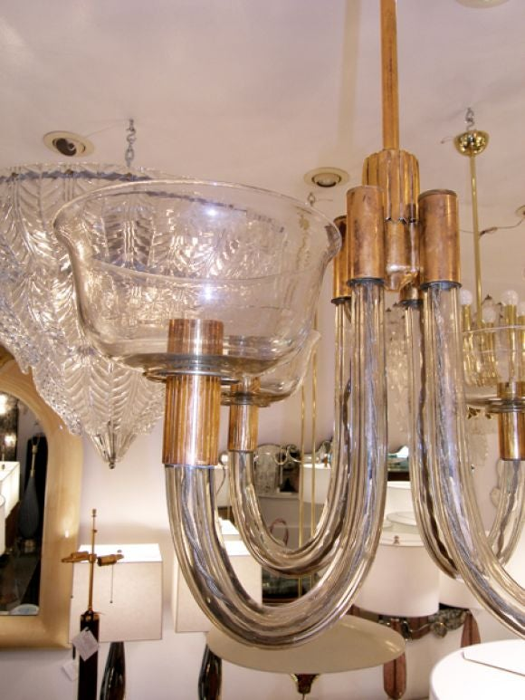 Documented 1941 Venini Brass and Pale Amber Glass Chandelier 3