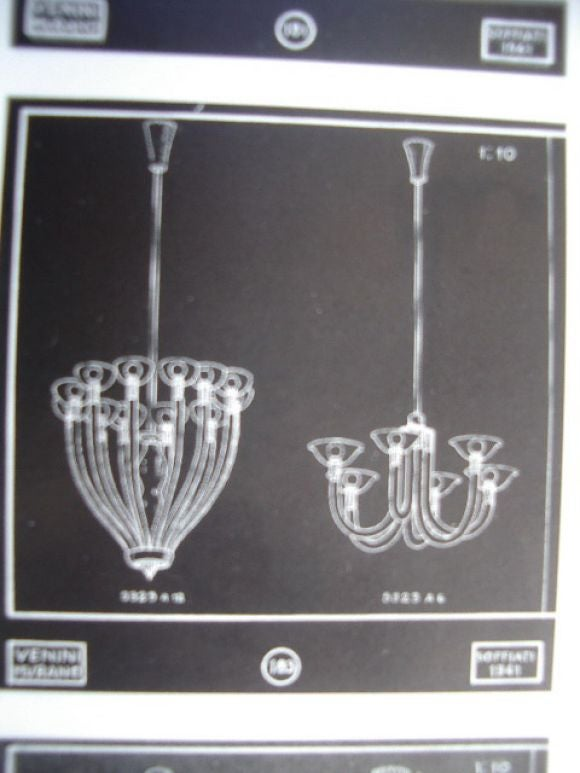 Documented 1941 Venini Brass and Pale Amber Glass Chandelier 5