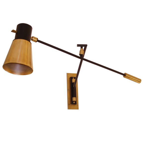 Wall Mounted Lamps Images : Jean Boris Lacroix Wall Mounted Lamp in Brass and Black Lacquer at 1stdibs