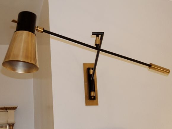 Jean Boris Lacroix Wall Mounted Lamp in Brass and Black Lacquer at 1stdibs