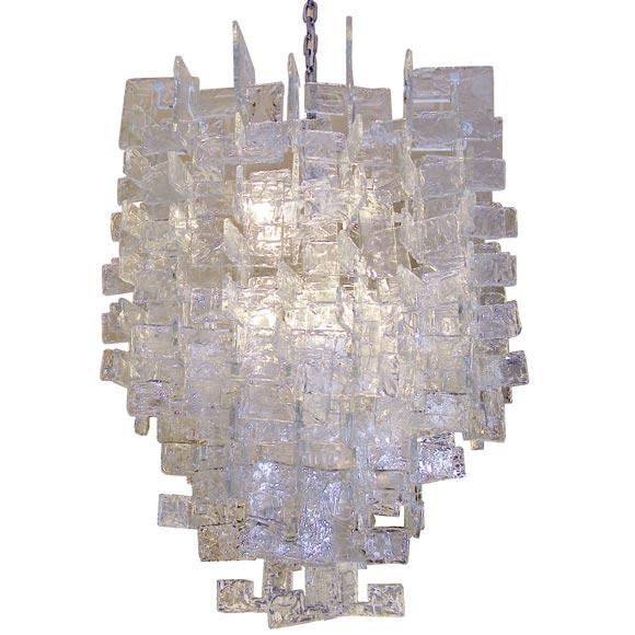 Large Mazzega Chandelier / Interlocking Glass C Shapes For Sale at ...:Large Mazzega Chandelier / Interlocking Glass C Shapes 1,Lighting