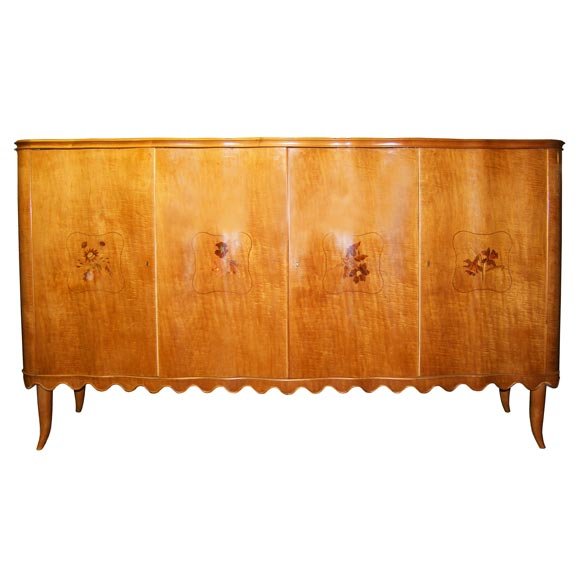 Paolo Buffa Walnut Server with Scalloped Bottom and Horn Legs