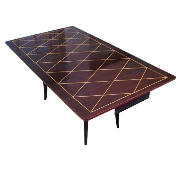 tommi parzinger drop leaf extension mahogany dining table