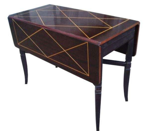 tommi parzinger drop leaf extension mahogany dining table at 1stdibs