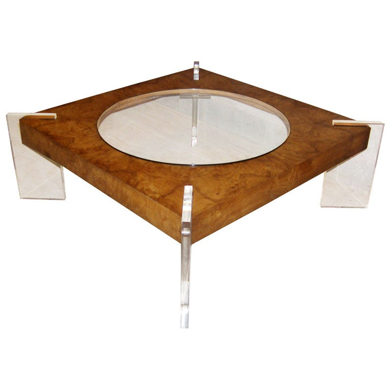 Http 1stdibs Com Furniture Tables Coffee Tables Cocktail Tables Vladimir Kagan Burl Wood Glass Lucite Coffee Table C 1970 Id F 156255