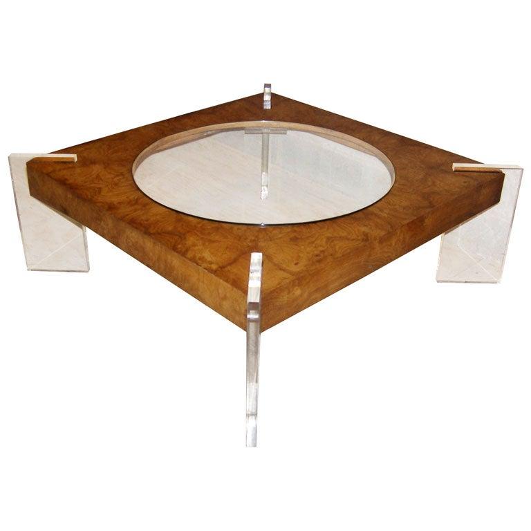 Vladimir Kagan Burl Wood Glass And Lucite Coffee Table C 1970