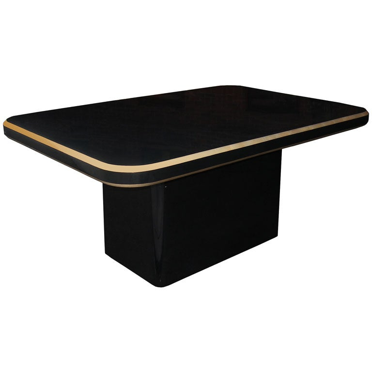 Karl Springer Black Lacquer Table With Gold Leaf