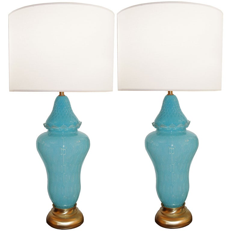 Pair of Large Barovier Glass Lamps in Pale Blue
