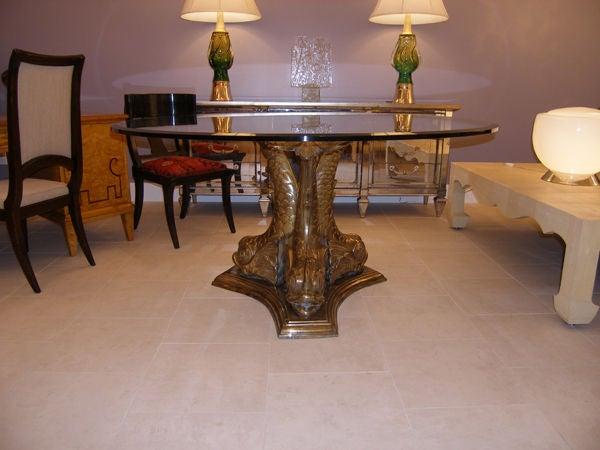 Italian Bronze Table With Glass Top C. 1940u0027s 2