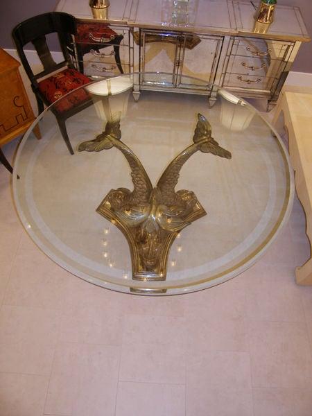 Italian Bronze Table With Glass Top C. 1940u0027s 3