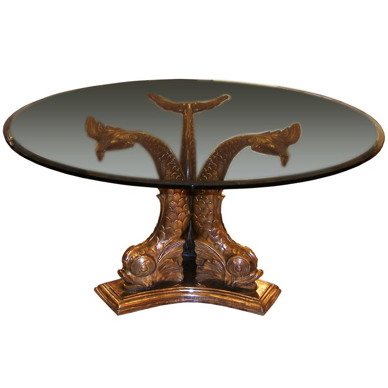 Bronze Fish Table Base Copy Black Glass Oval Dining
