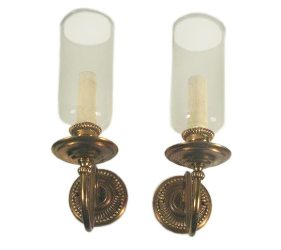 Storm Lantern Wall Lights : Circa 1940 s Pair hurricane lantern sconces at 1stdibs