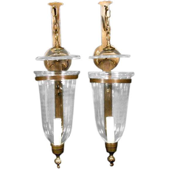 Pair large hurricane wall sconces (electrified) at 1stdibs