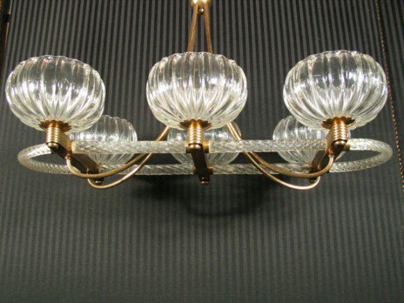 Italian Mid Century Murano Glass Ceiling Fixture For Sale