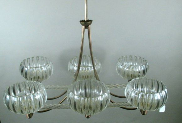 Mid Century Murano Glass Ceiling Fixture In Good Condition For Sale In Douglas Manor, NY