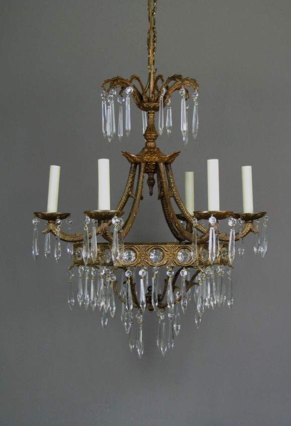 #1-545, a six-light basket shaped chandelier dressed with glass beads and prisms. Newly rewired