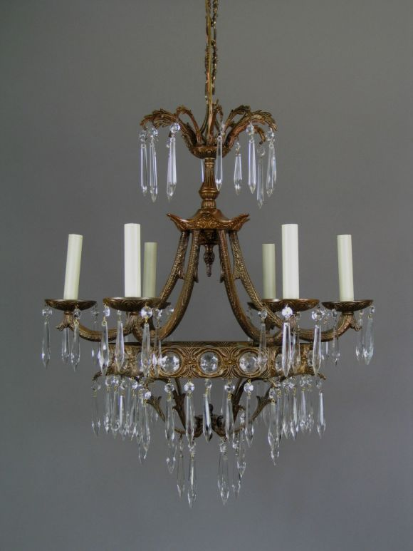 Italian Crystal Prism Chandelier, 1940 For Sale