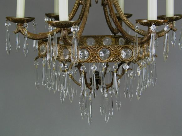 Beads Crystal Prism Chandelier, 1940 For Sale