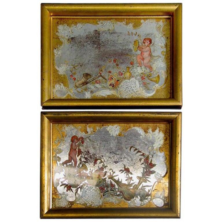 Pair of Italian Reversed Paintings on Glass