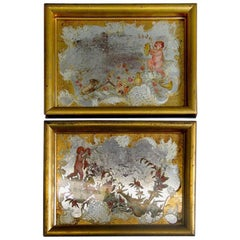 Pair of Italian Reversed Paintings on Glass