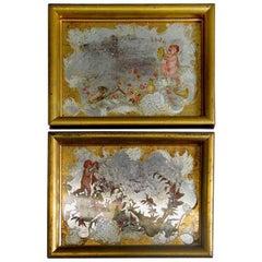 Antique Pair of Italian Reversed Putti  Paintings on Glass 1920