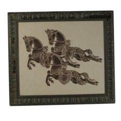 Wood block of Horses