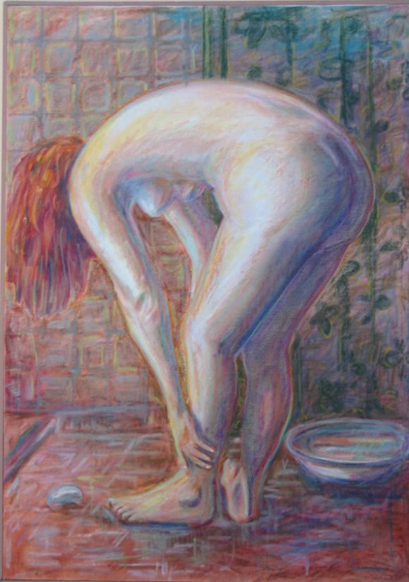 "Pastel of Nude Painting-, ""The Bather"" 2"