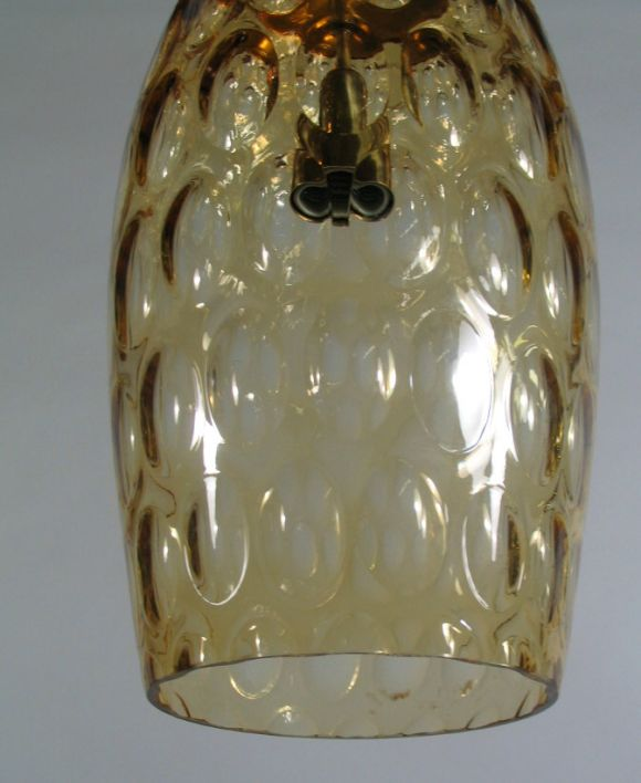 Mid Century Murano Amber Bubble Glass Pendant In Good Condition For Sale In Douglas Manor, NY